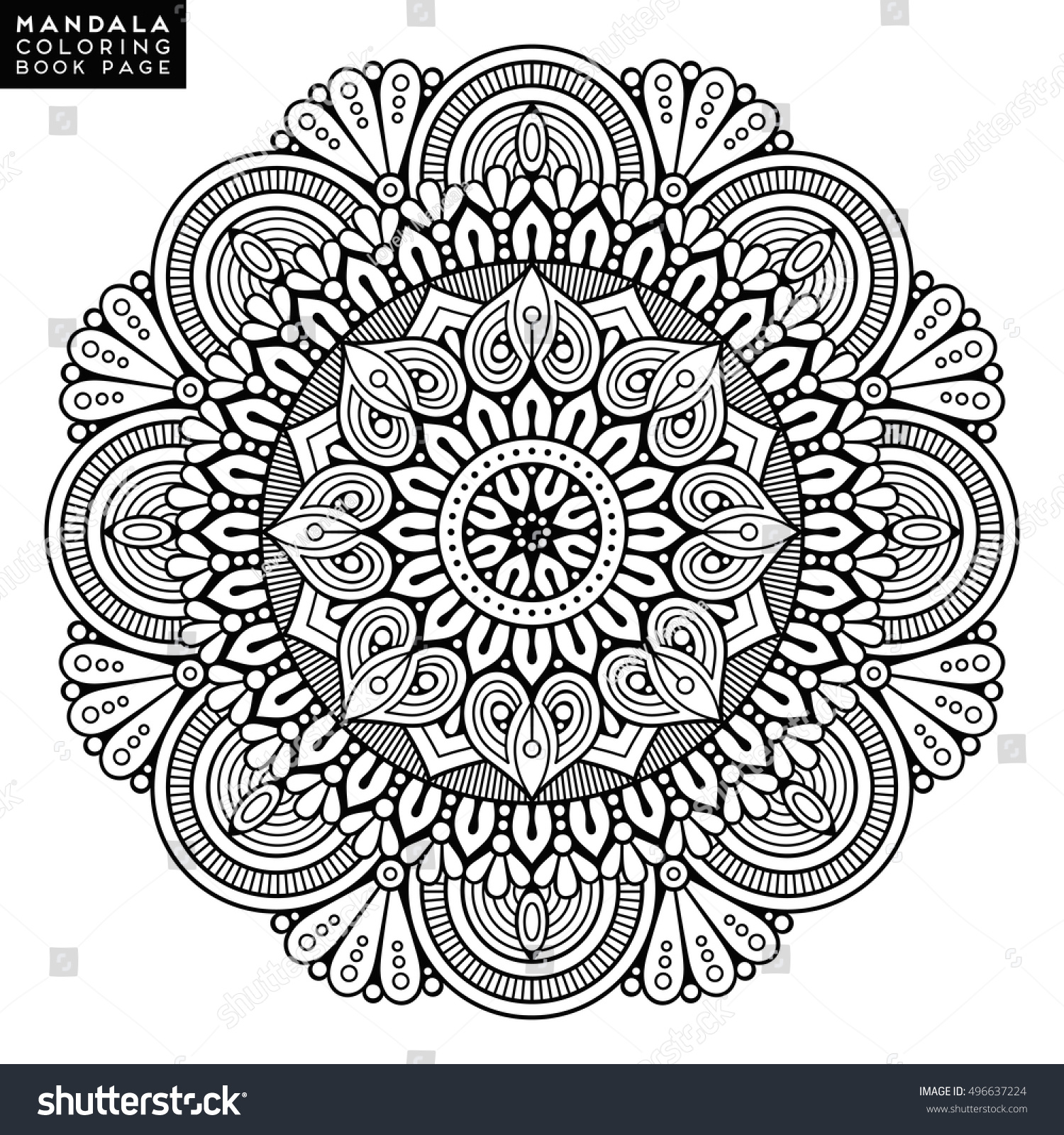 Flower Mandala Vintage Decorative Elements Oriental Immagine Vettoriale Stock 496637224