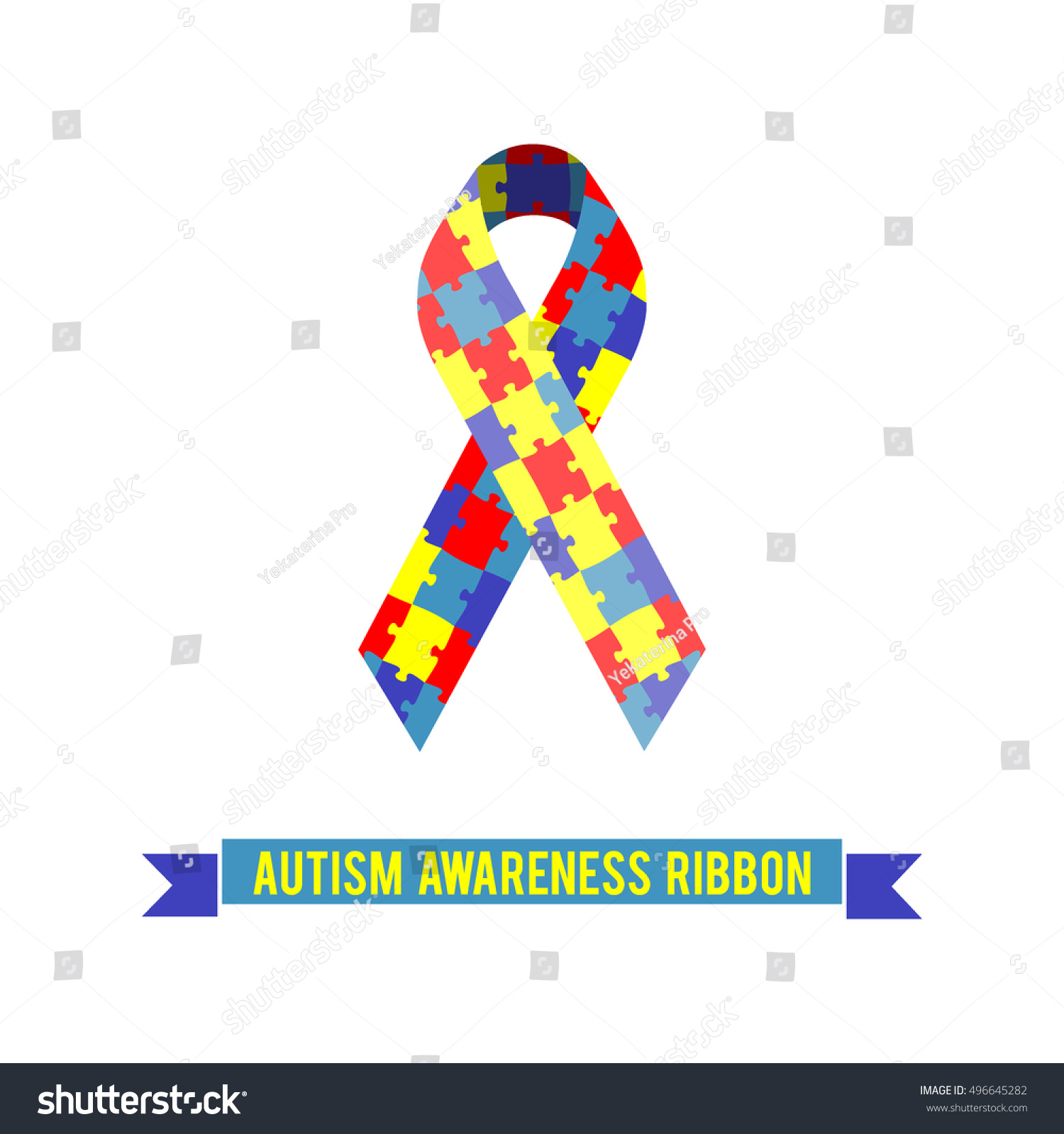 Puzzle Ribbon Symbol Autism Awareness Vector Stock Vector Royalty