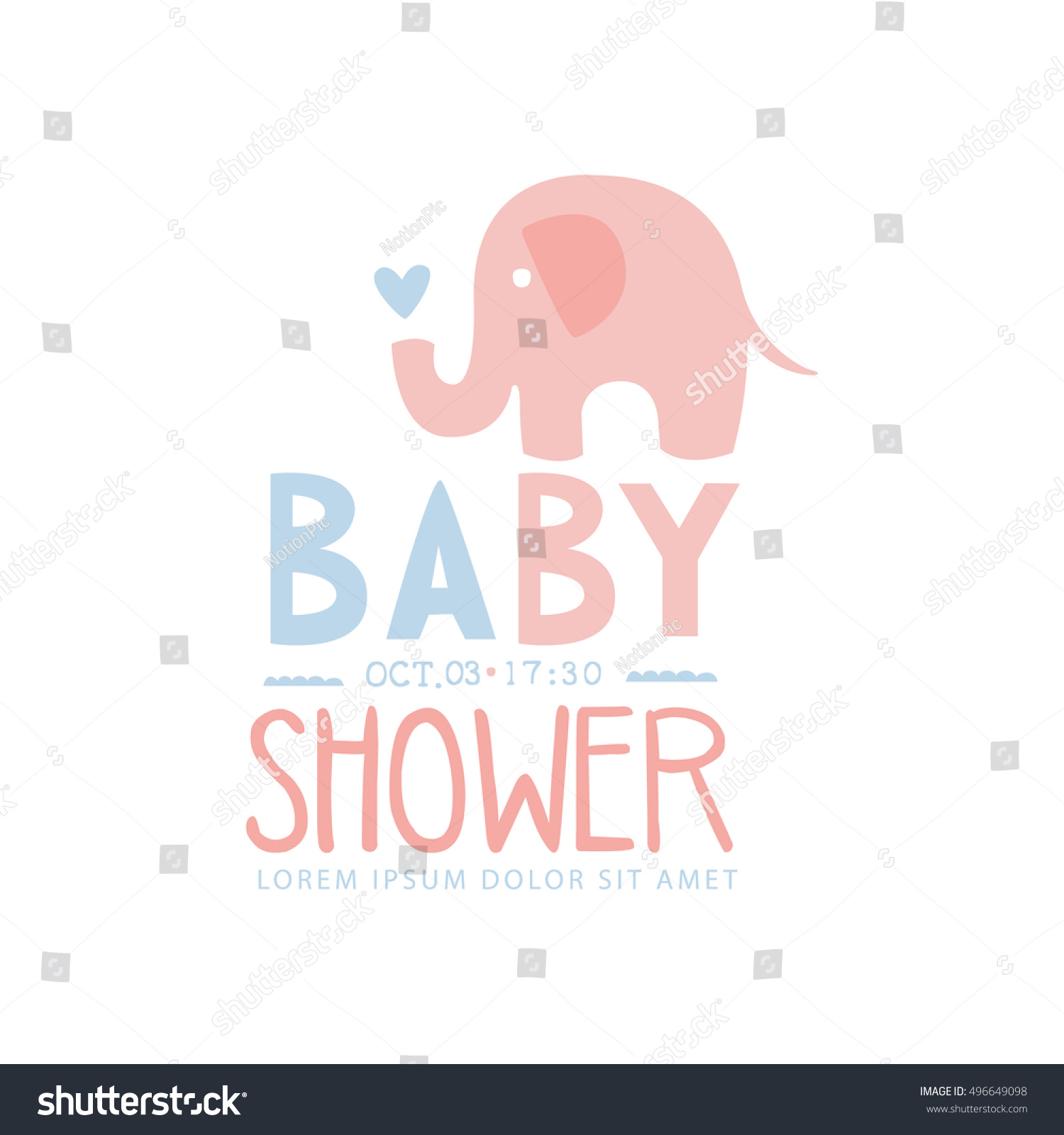 Baby Shower Invitation Design Template Toy Stock Vector