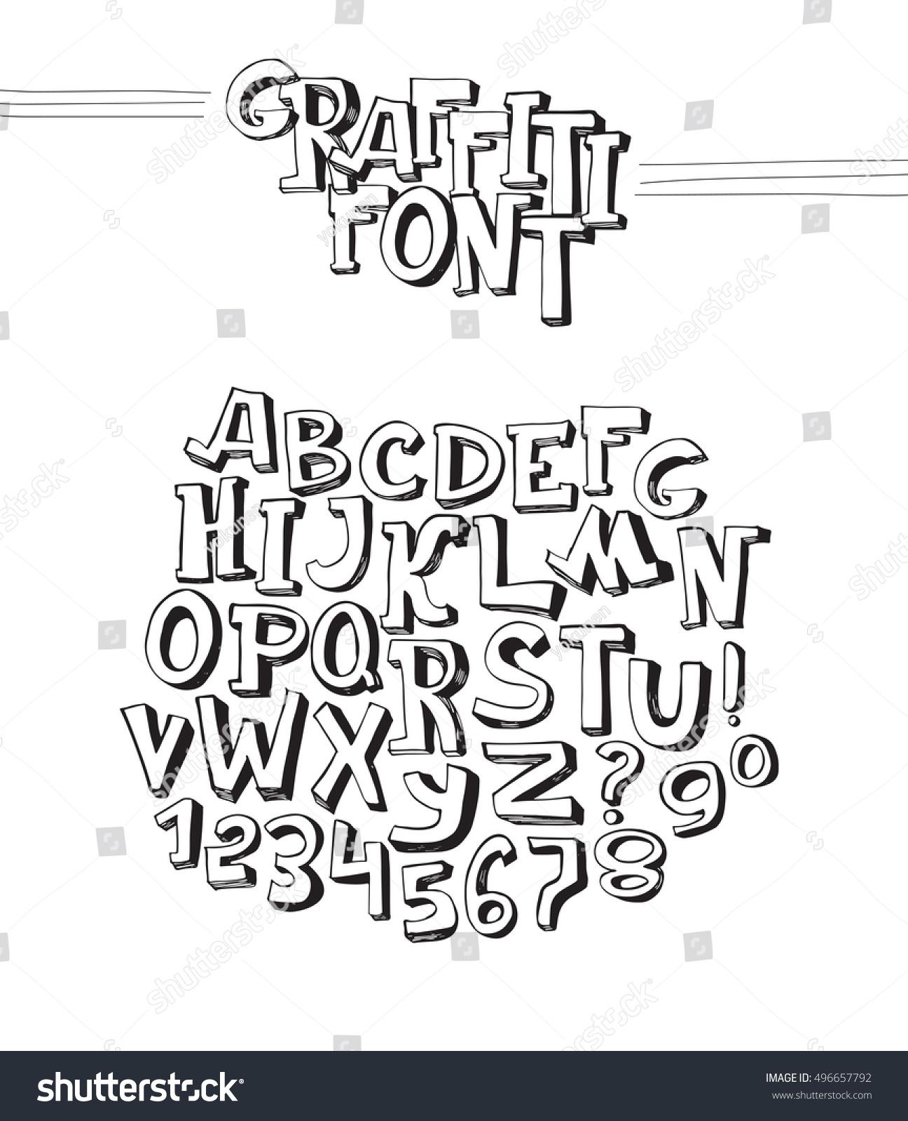 Graffiti Font Abc Letters Z Numbers Stock Vektorgrafik Lizenzfrei