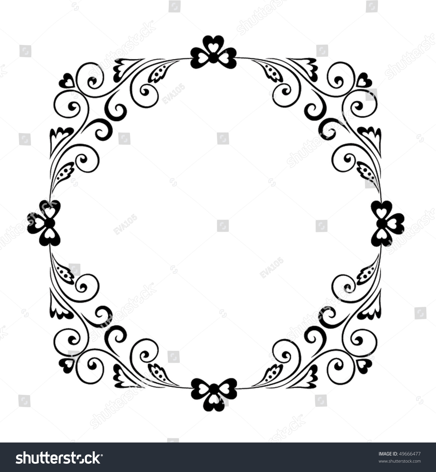 Decorative Black Flower Border Stock Image: Decorative Black Border Stock Vector 49666477