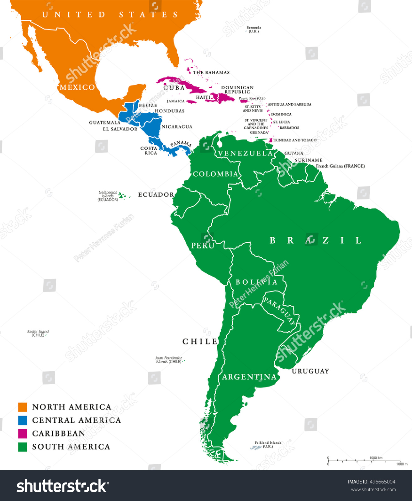 Latin America South America Map.Latin America Regions Map Subregions Caribbean Stock Vector Royalty