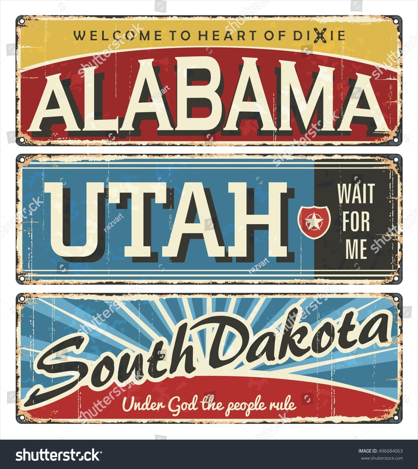 Vintage Tin Sign Collection Usa State Stock Vector 496684063 ...