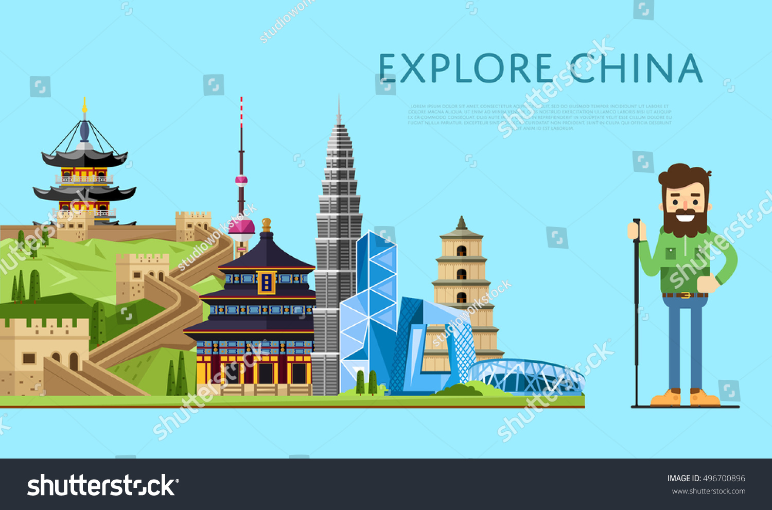 China travel concept china landmarks vector stock vector for Special landmarks