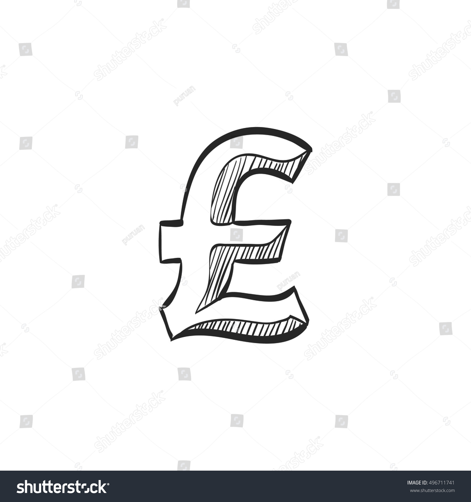 Pound Sterling Symbol Icon Doodle Sketch Stock Vector Royalty Free