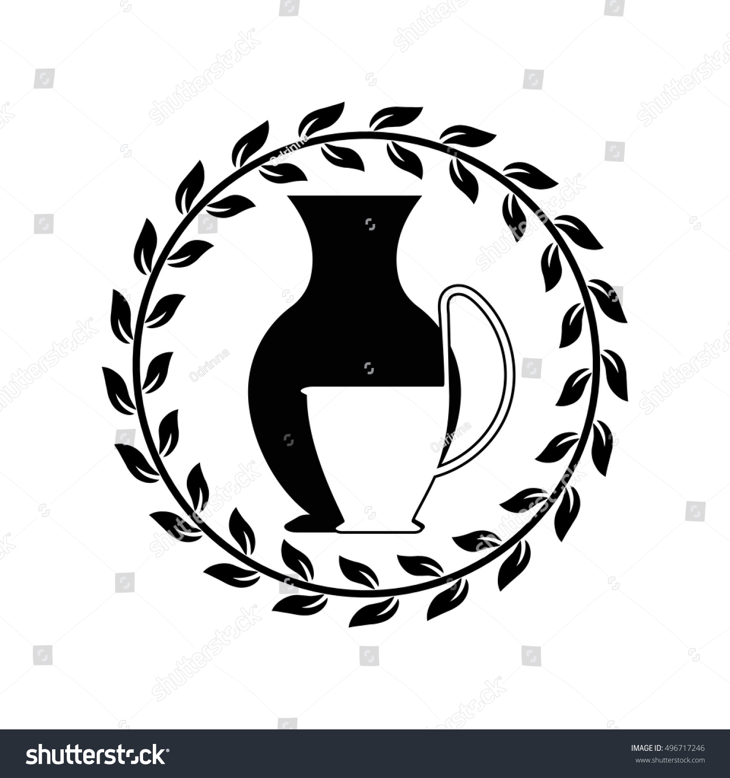 Vector ancient greek vases icon amphora stock vector 496717246 vector ancient greek vases icon amphora with kyathos and olive leaves pattern the symbols biocorpaavc