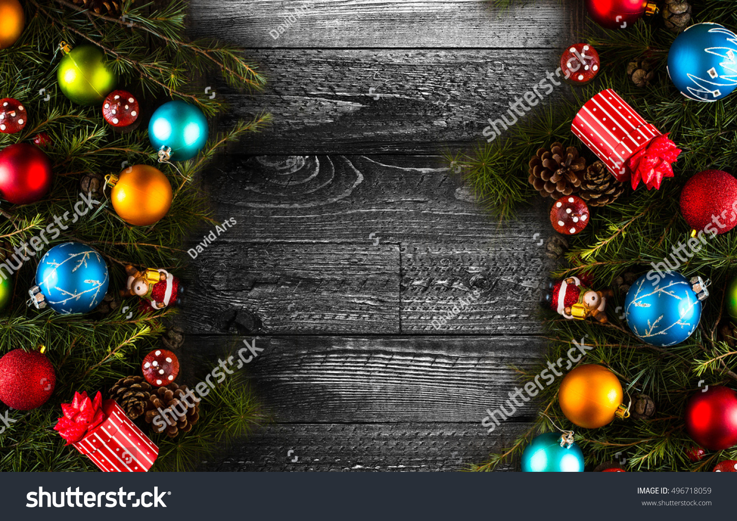 christmas background with decorations on wooden board ez canvas