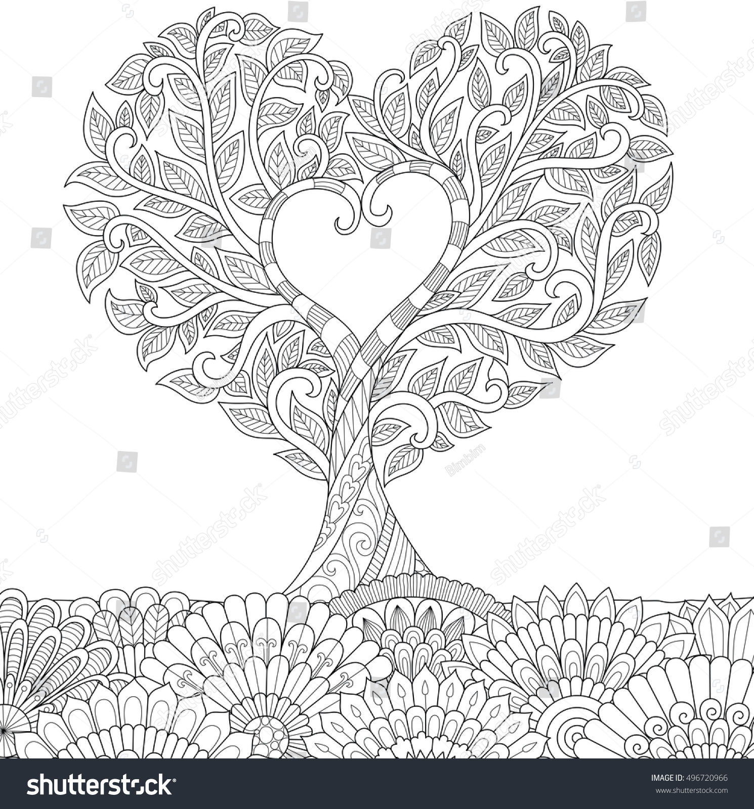 heart shape coloring page - flowers heart shape on floral ground stock vector