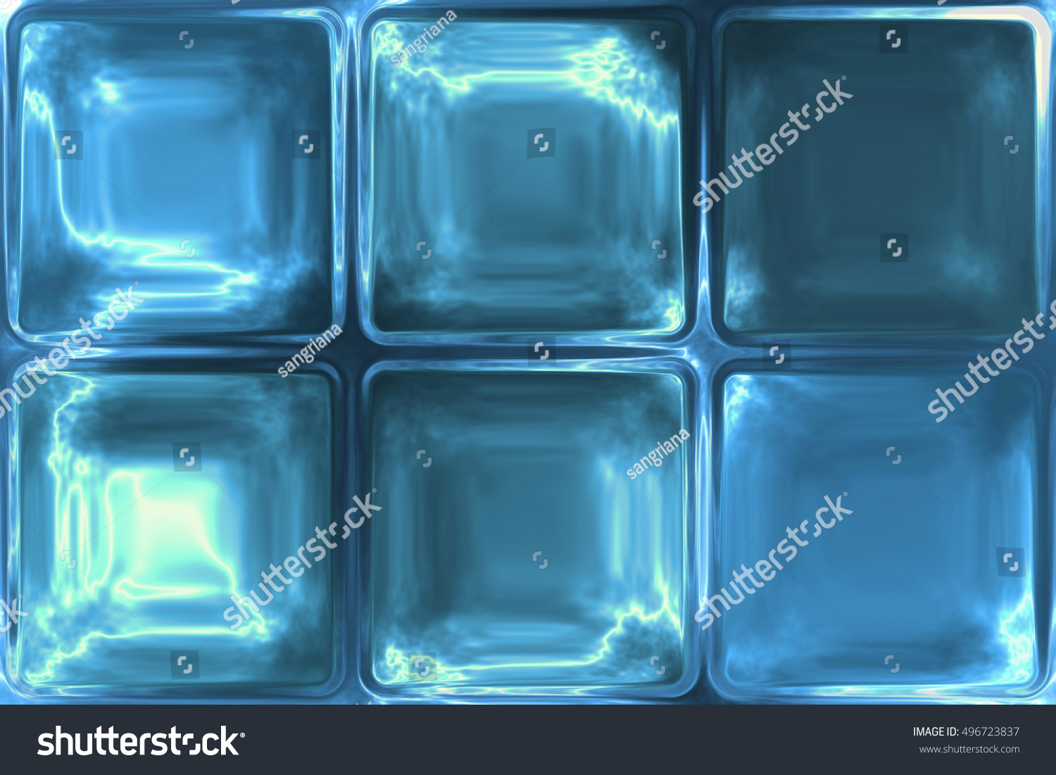 Blue Crystal Ice Icy Glass Tiles Stock Illustration