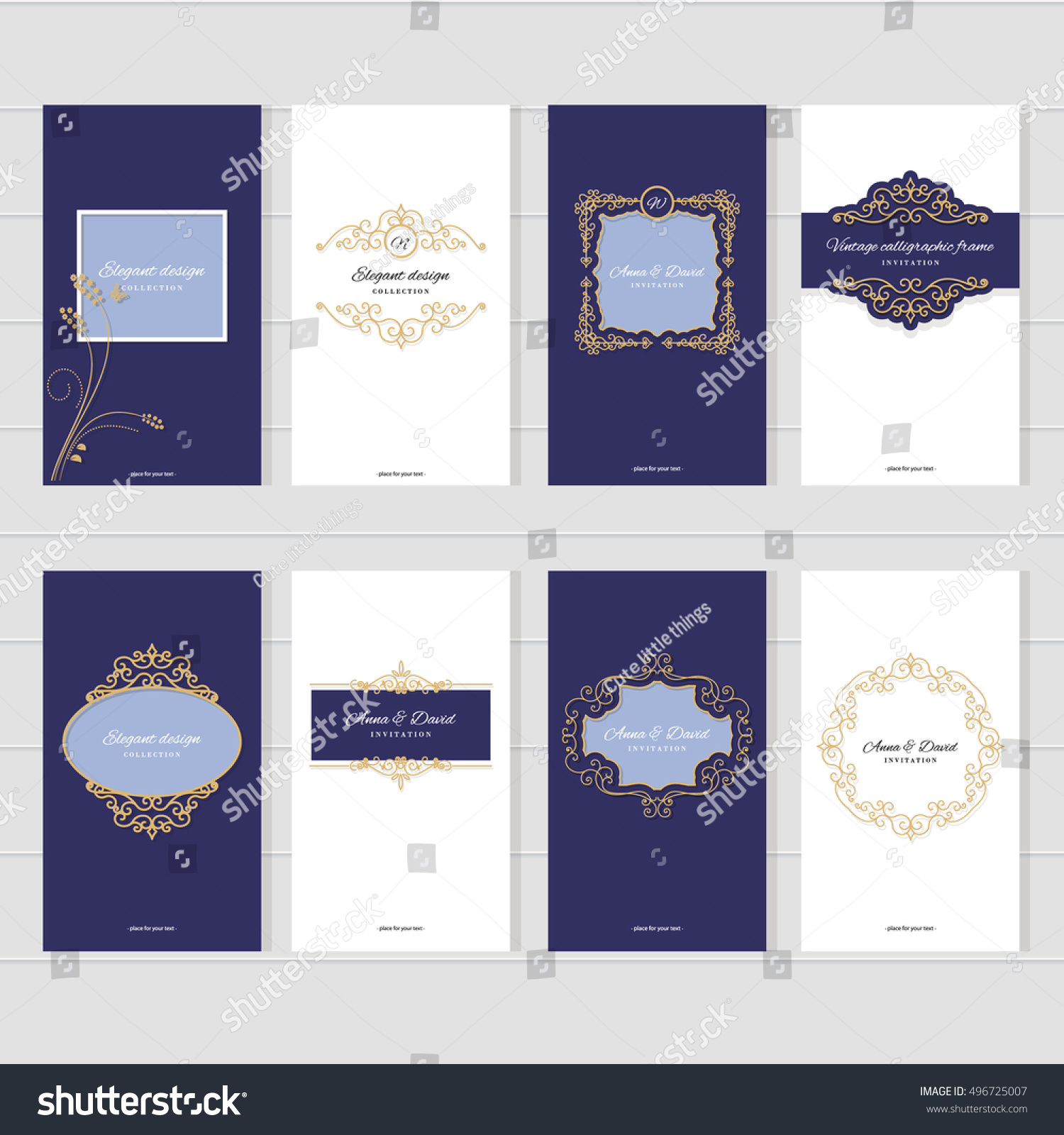 Luxury vintage card templates set wedding stock vector 496725007 luxury vintage card templates set for wedding invitations elegant greeting cards beauty industry kristyandbryce Images