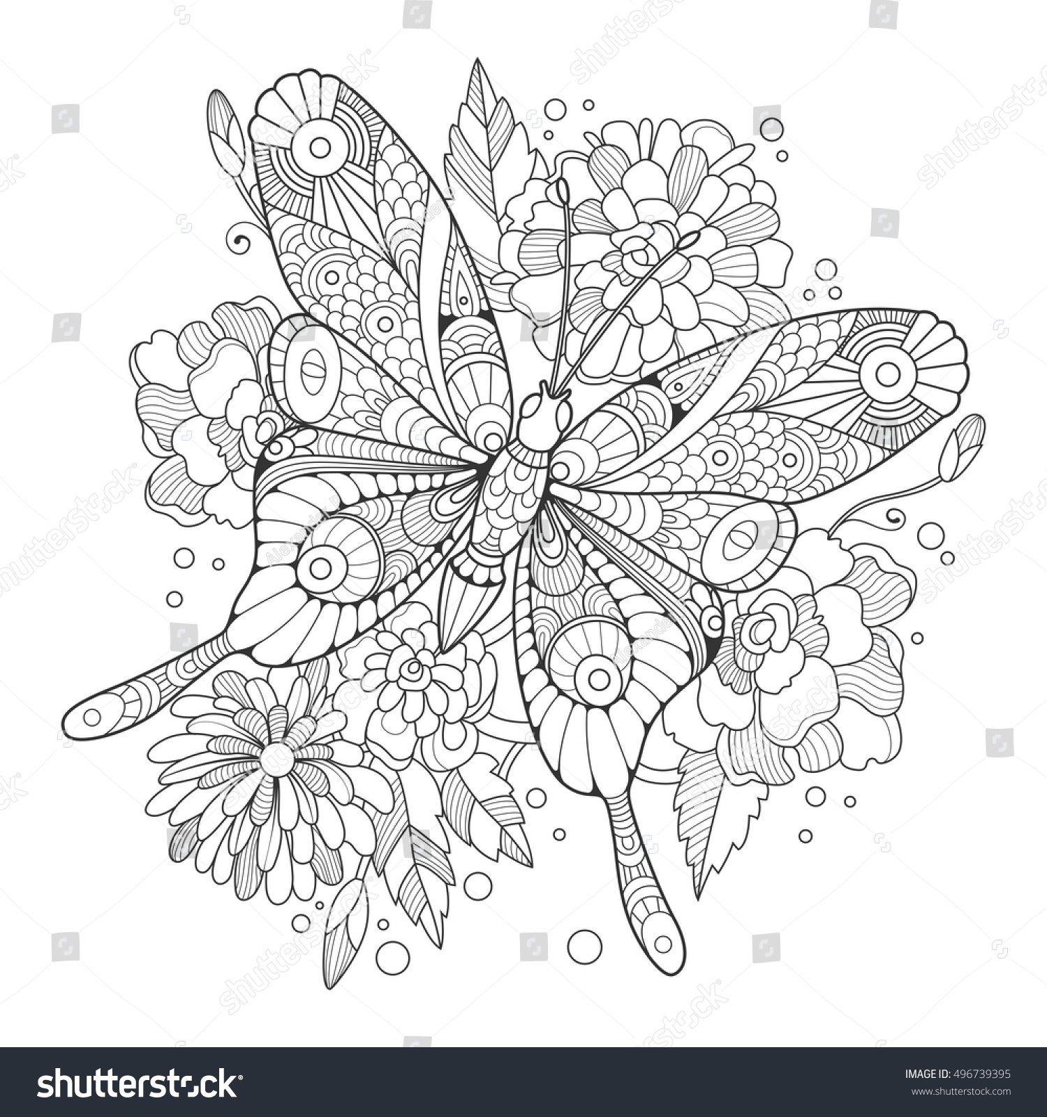 Butterfly Coloring Book For Adults Vector Illustration Anti Stress Adult Tattoo