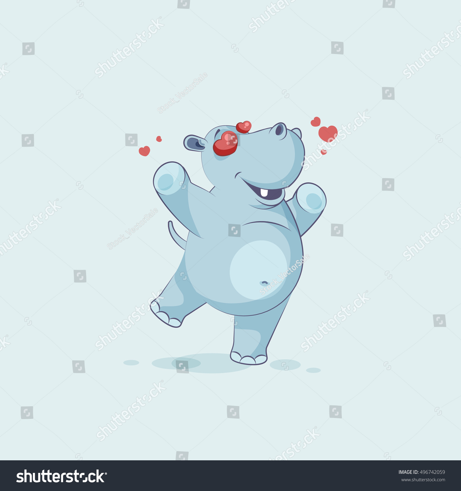 Vector stock illustration isolated emoji character stock vector vector stock illustration isolated emoji character cartoon hippopotamus in love flying with hearts sticker emoticon for biocorpaavc Image collections