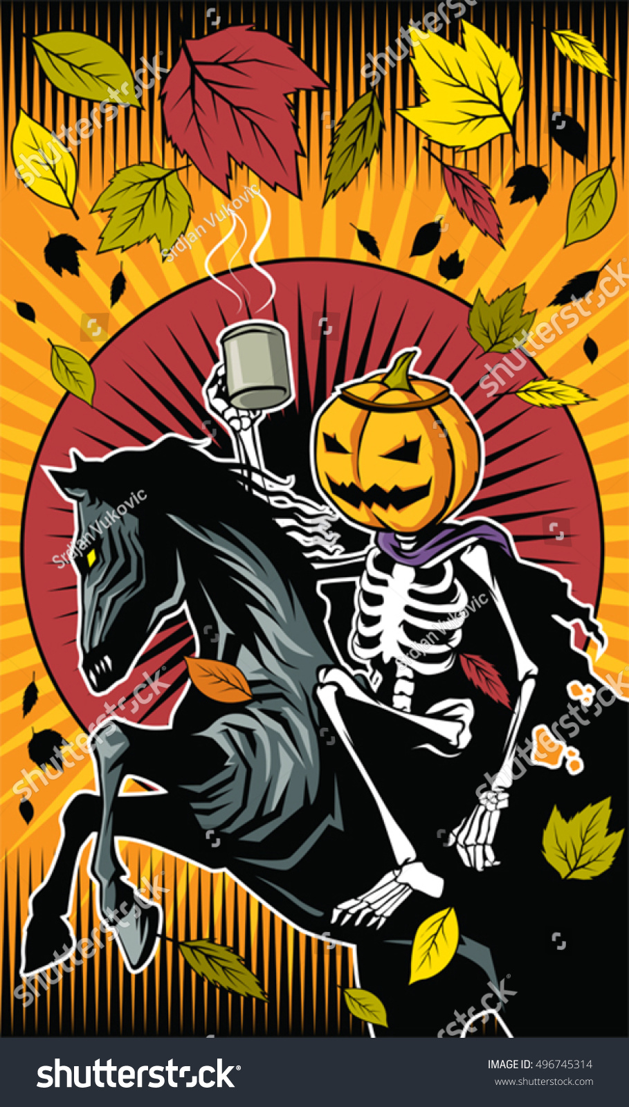 Vector De Stock Libre De Regalias Sobre Illustration Halloween Pumpkin Skeleton Ride On496745314
