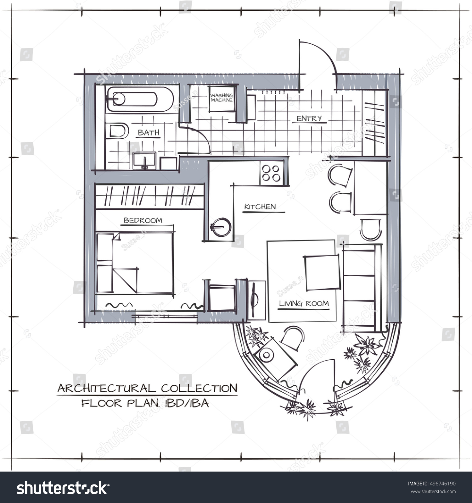 Architectural hand drawn vector floor plan stock vector for How to draw architectural plans by hand