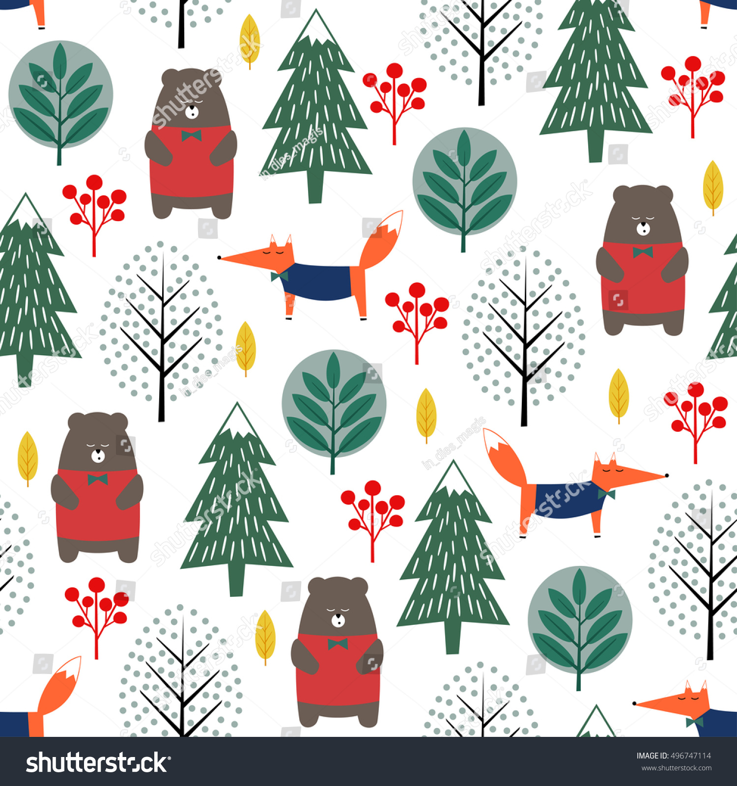 Seamless fir tree scandinavian pattern textile background wrapping - Fox Bear Trees And Berries Seamless Pattern On White Background Christmas Scandinavian Style