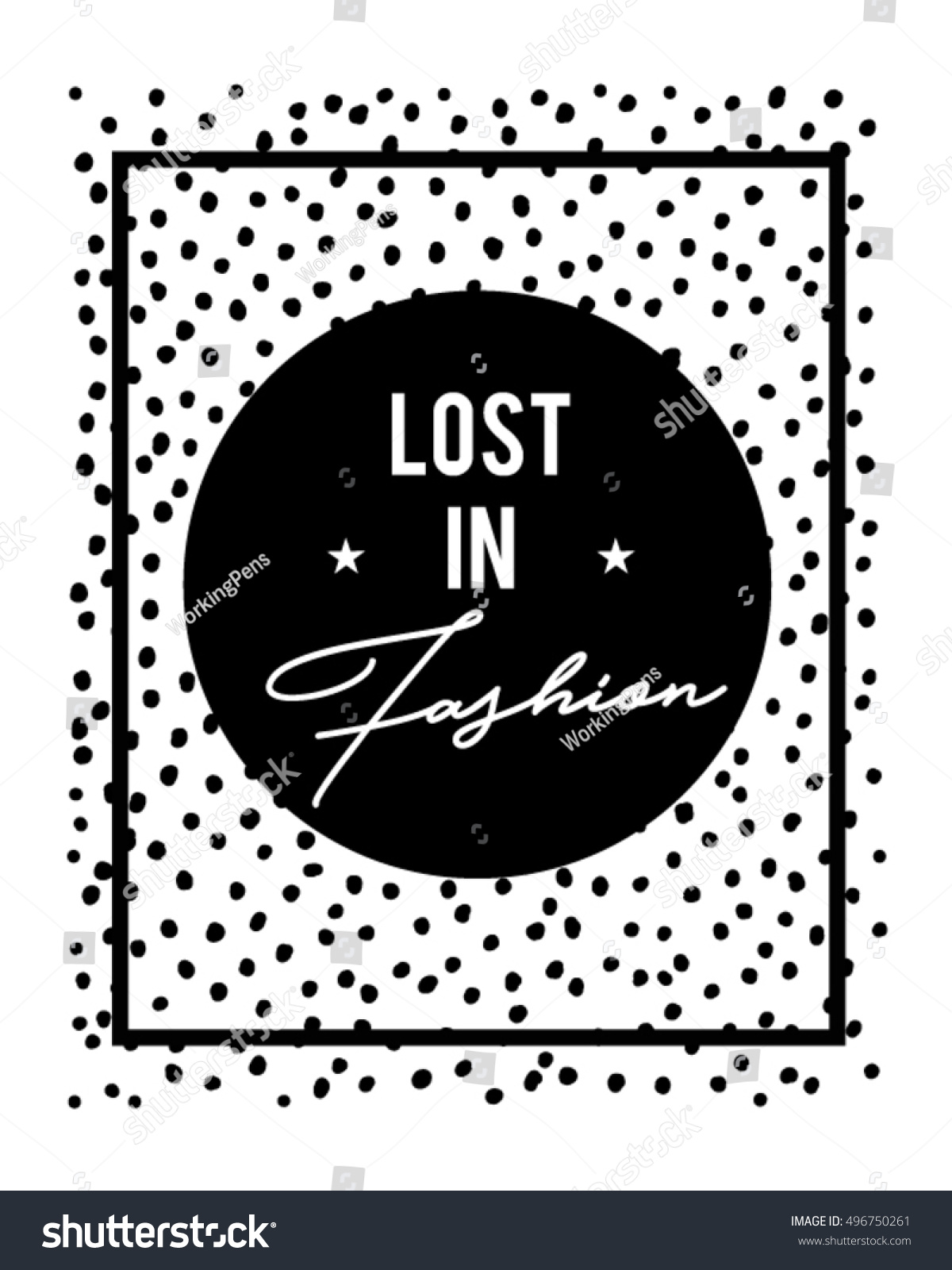 trendy dot print fashion quotein vector stock vector