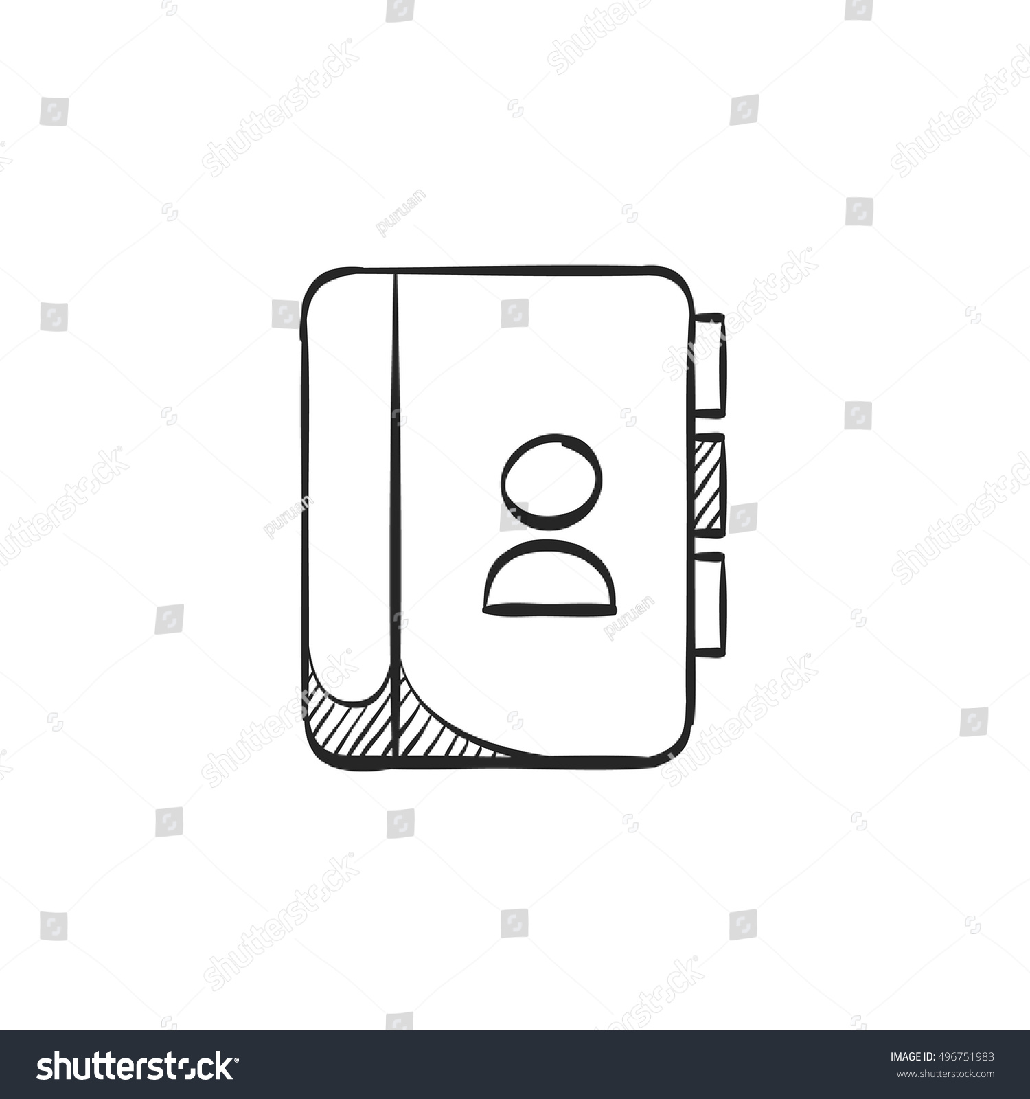address book icon doodle sketch lines stock vector royalty free