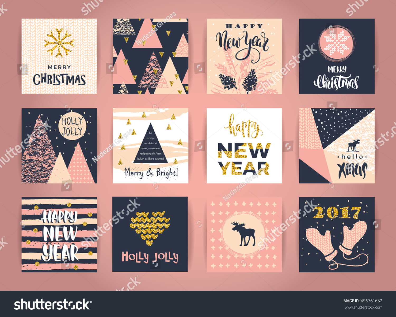 Set of artistic creative Merry Christmas and New Year cards Hand Drawn textures and brush lettering Design for poster card invitation placard brochure flyer Vector templates