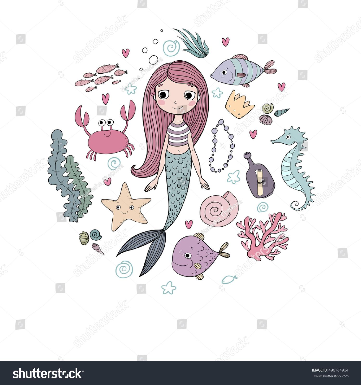 Marine Illustrations Set Little Cute Cartoon Stock