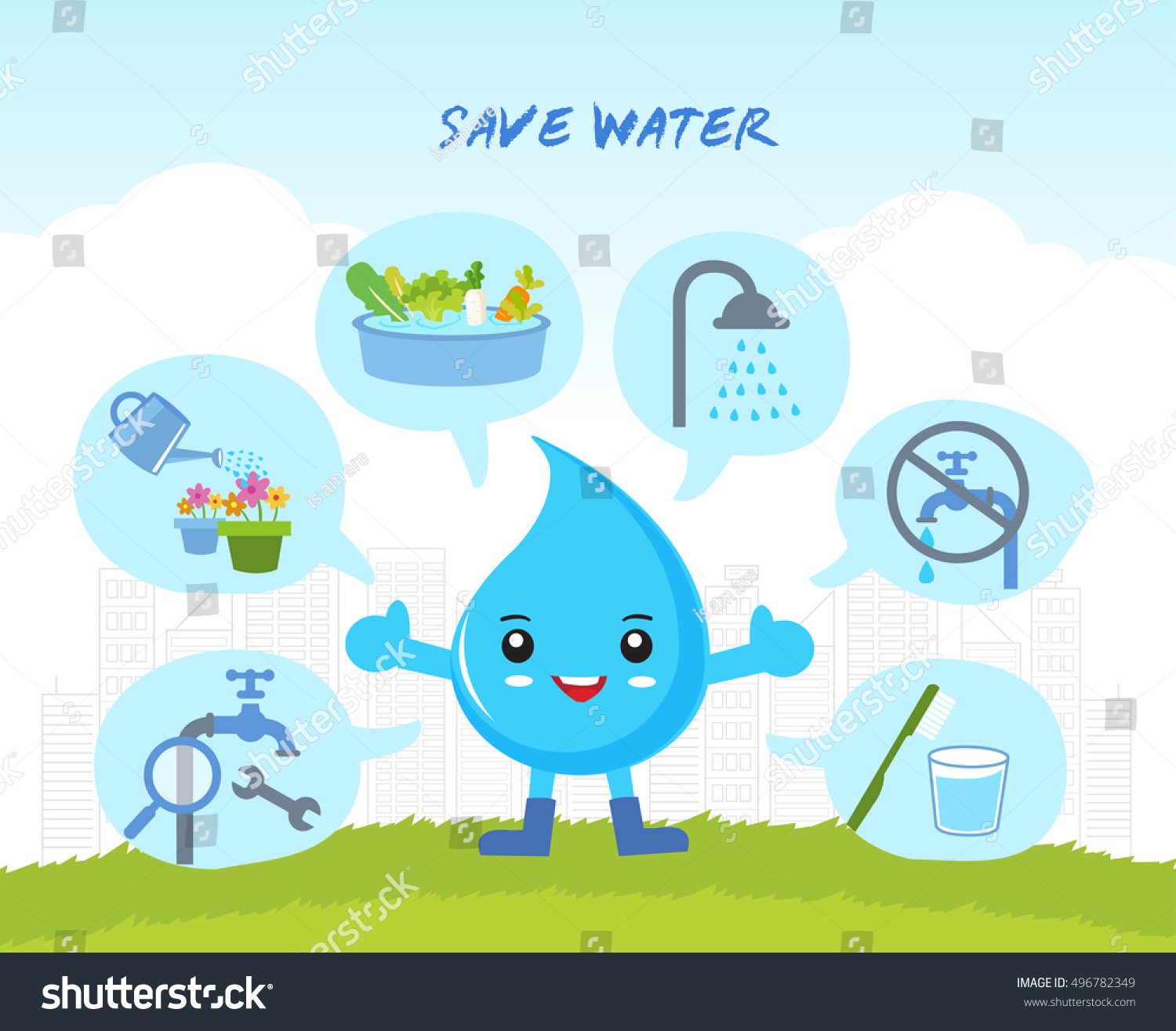 Save Water Infographic Save World Cartoon Stock Vector