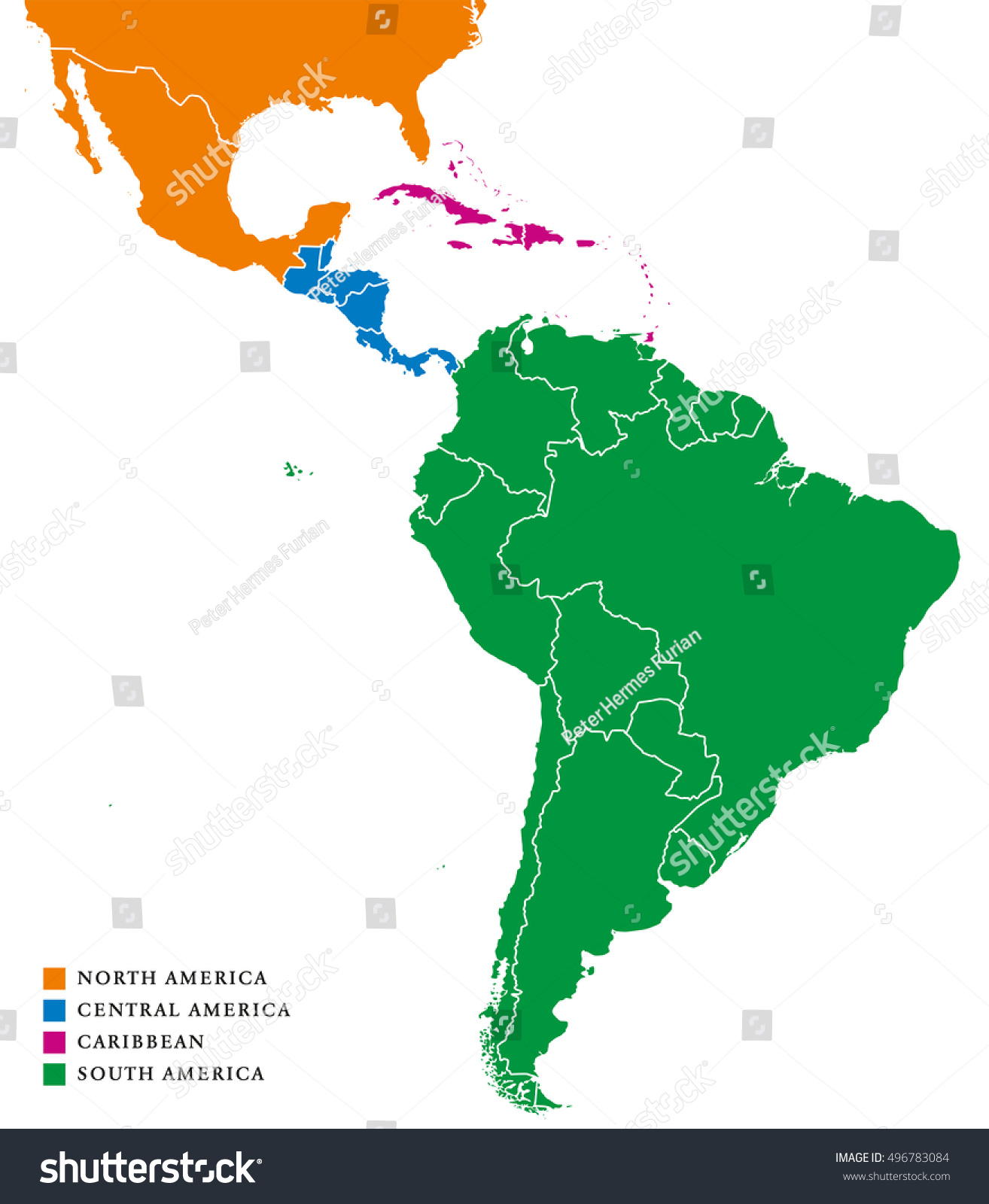 Latin america regions political map caribbean stock vector for What color is south america