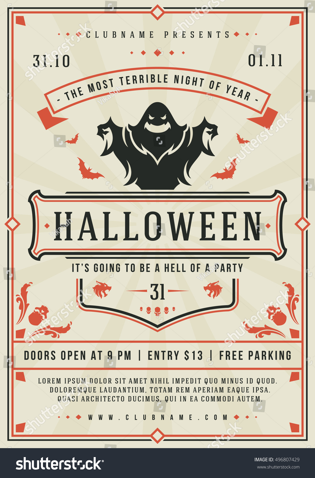 Halloween Night Party Poster Design Template. Typography ...