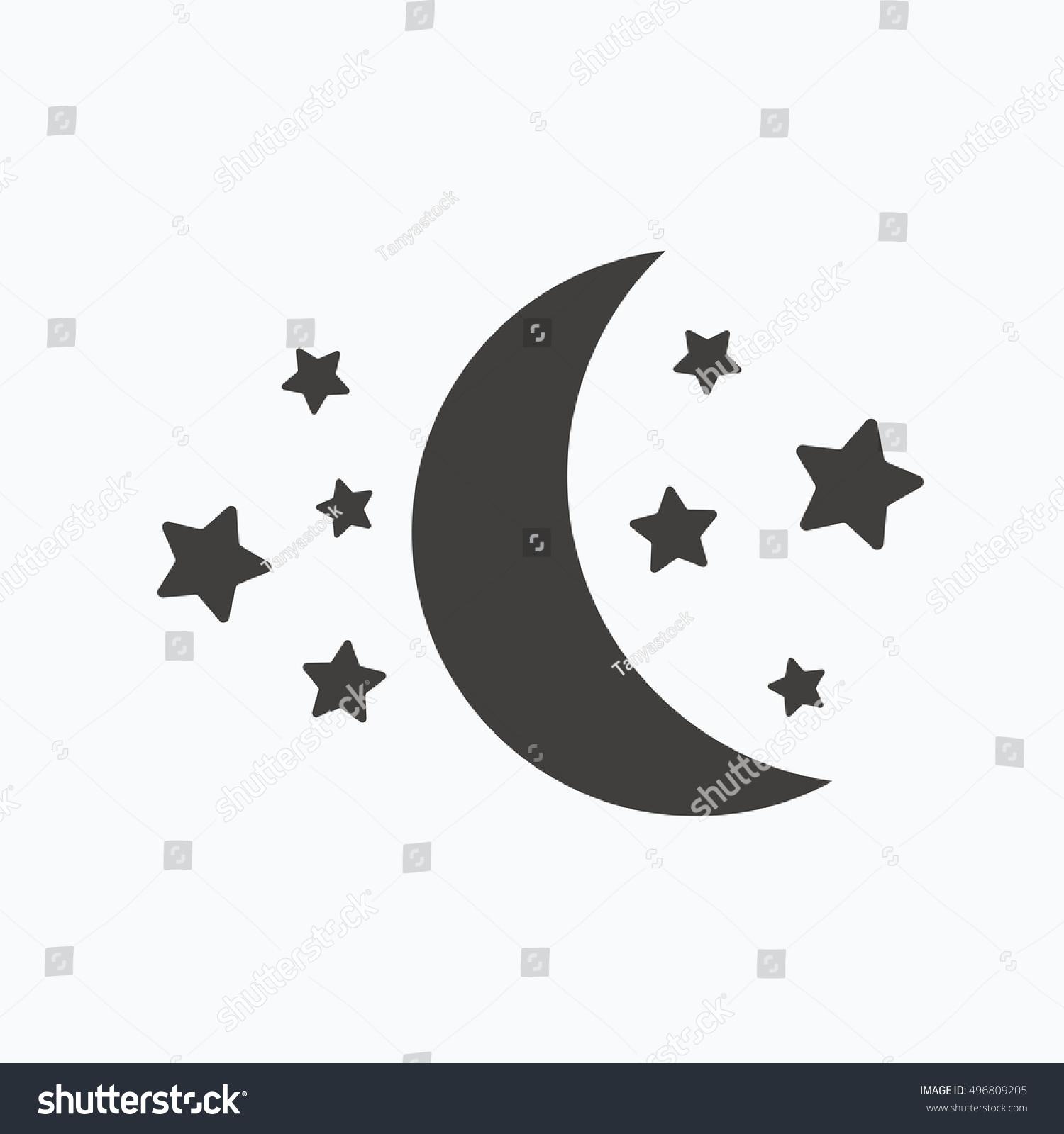 Moon Stars Icon Night Sleep Symbol Stock Vector Royalty Free