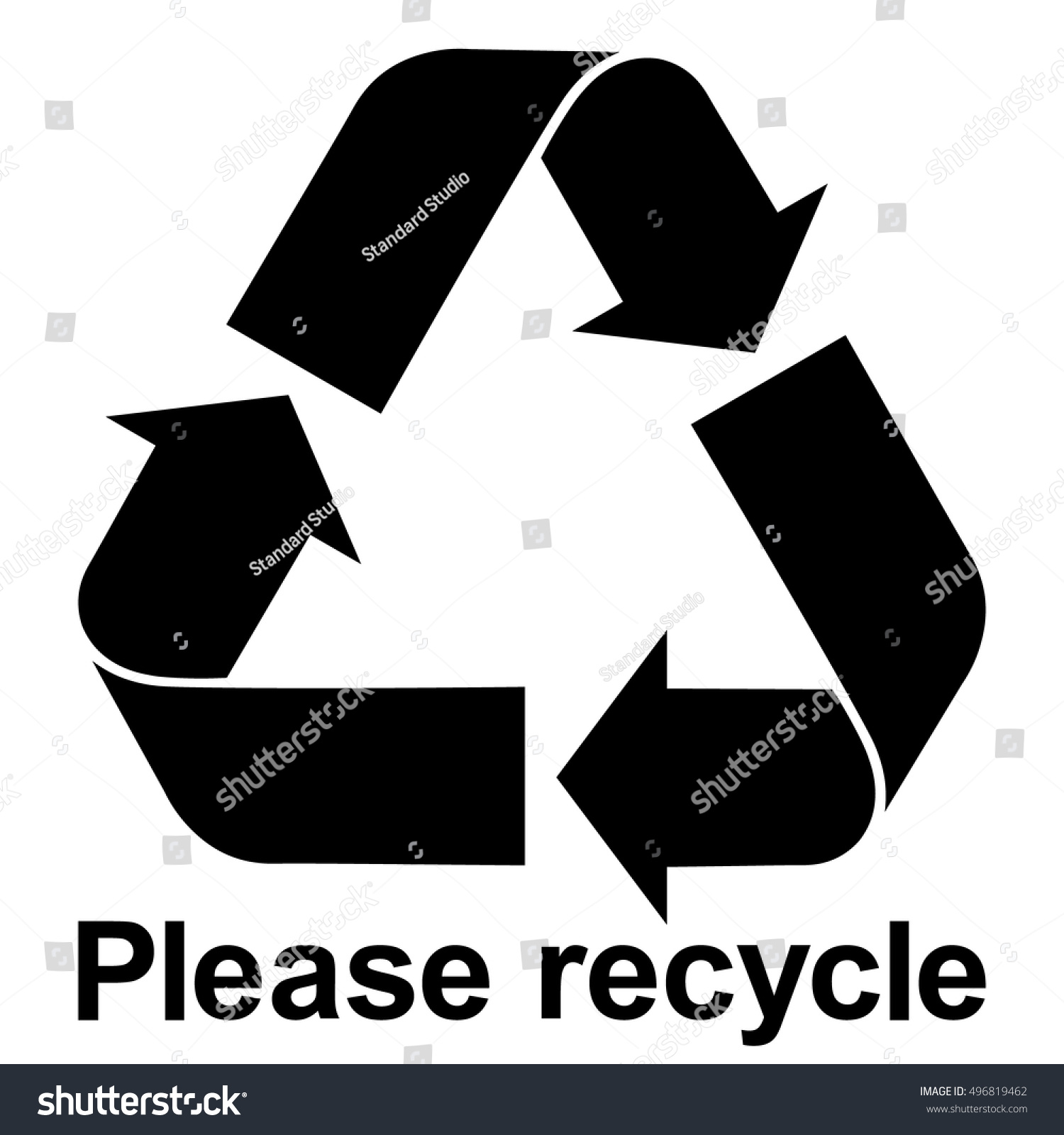 Black Recycle Symbol Text Please Recycle Stock Photo Photo Vector