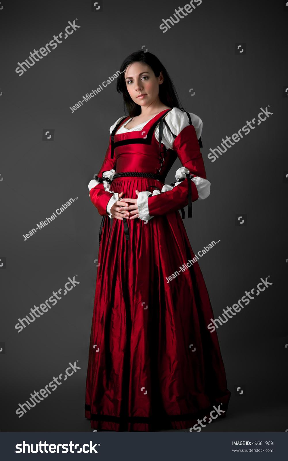 Beautiful Brunette Woman In Red Renaissance Dress- On Grey ...