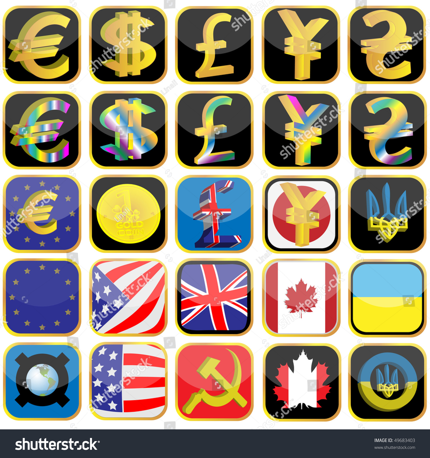 Symbols Currencies Flag Different Countries Made Stock Vector Hd