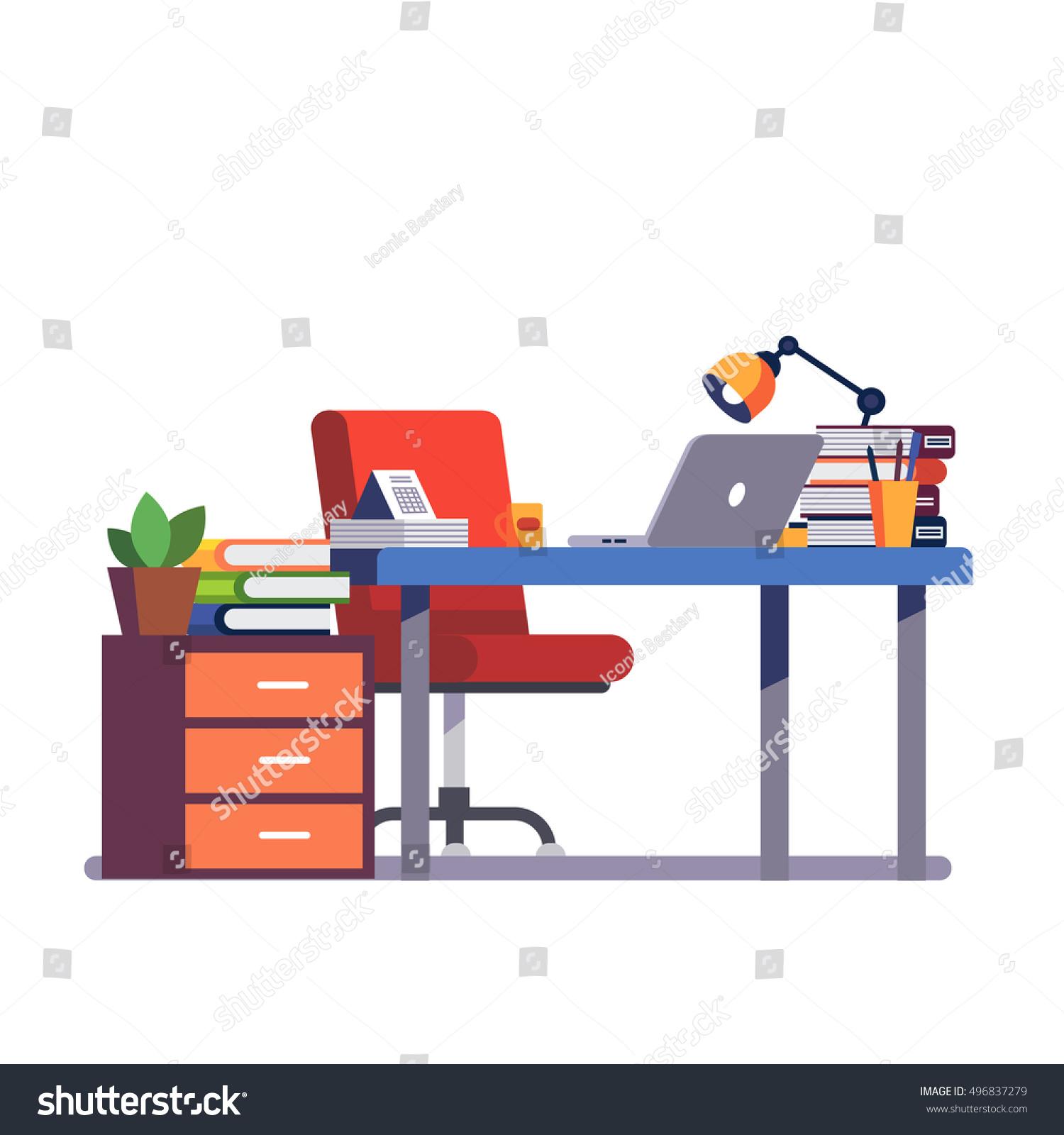 Office Desk Wallpaper: Home Office Desk Pedestal Drawer Casters Stock Vector