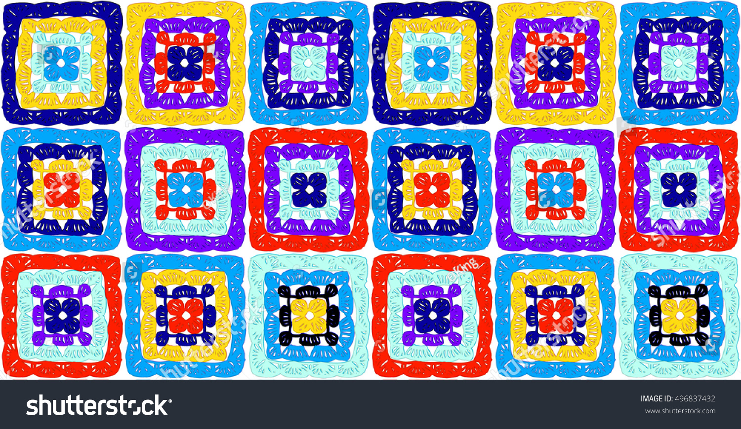Granny Squares Pattern Ripples Afghan Crochet Stock Vector Royalty