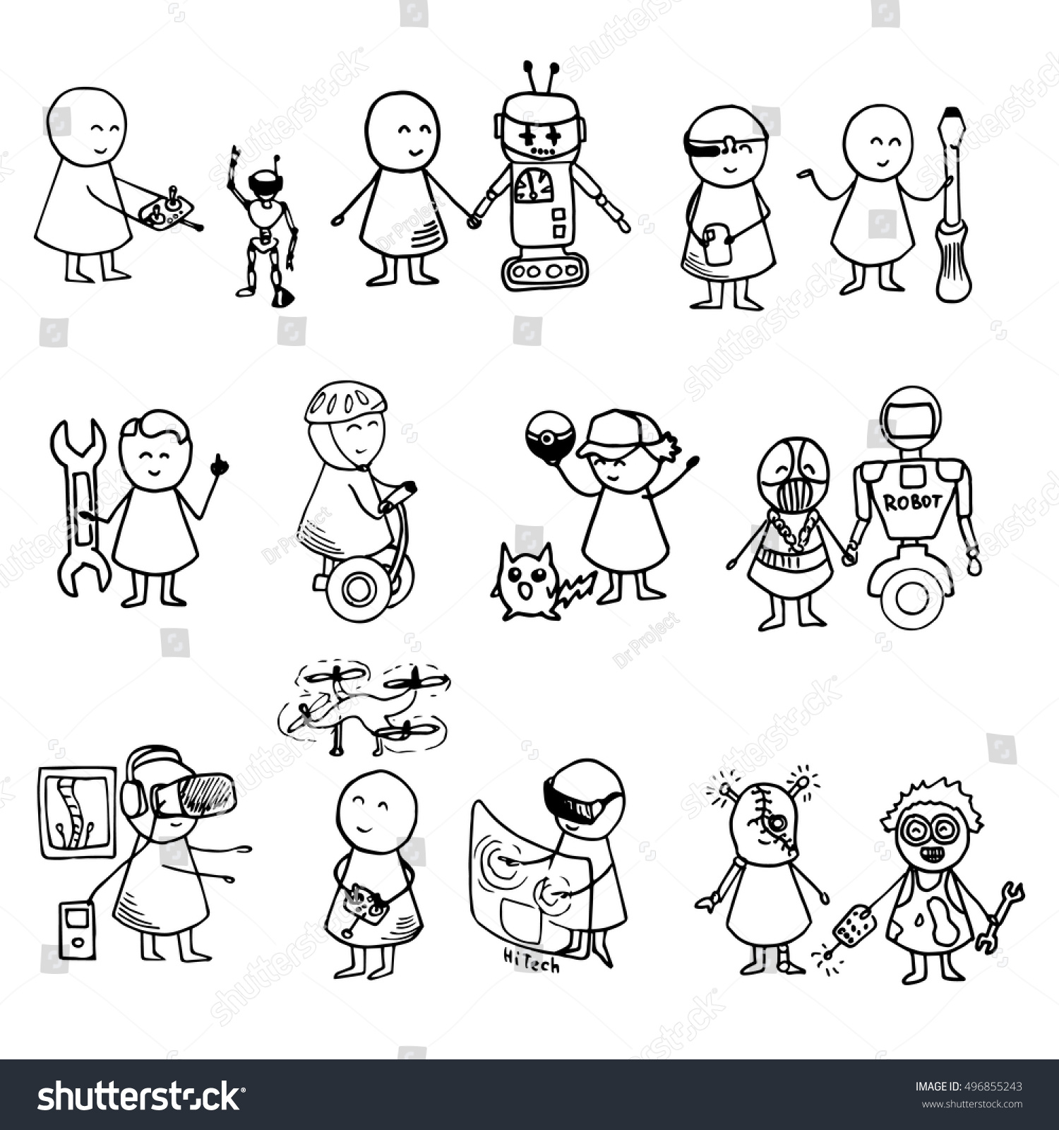 royalty free funny people icons doodle technology 496855243 stock ID Tech Camp funny people icons doodle technology big set vector hi tech hand drawn illustration