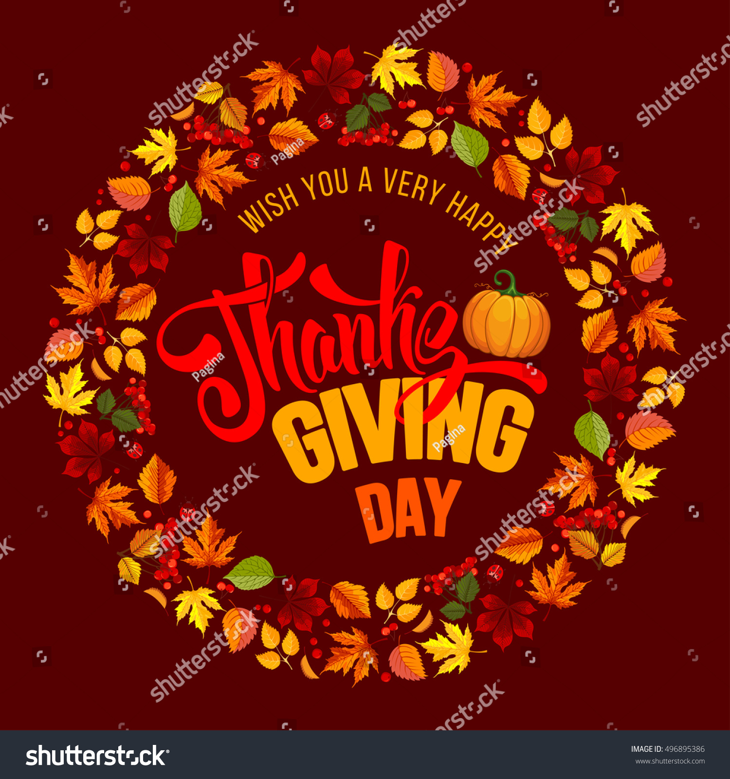 Thanksgiving Greeting Card Autumn Leaves Pumpkin Stock Vector