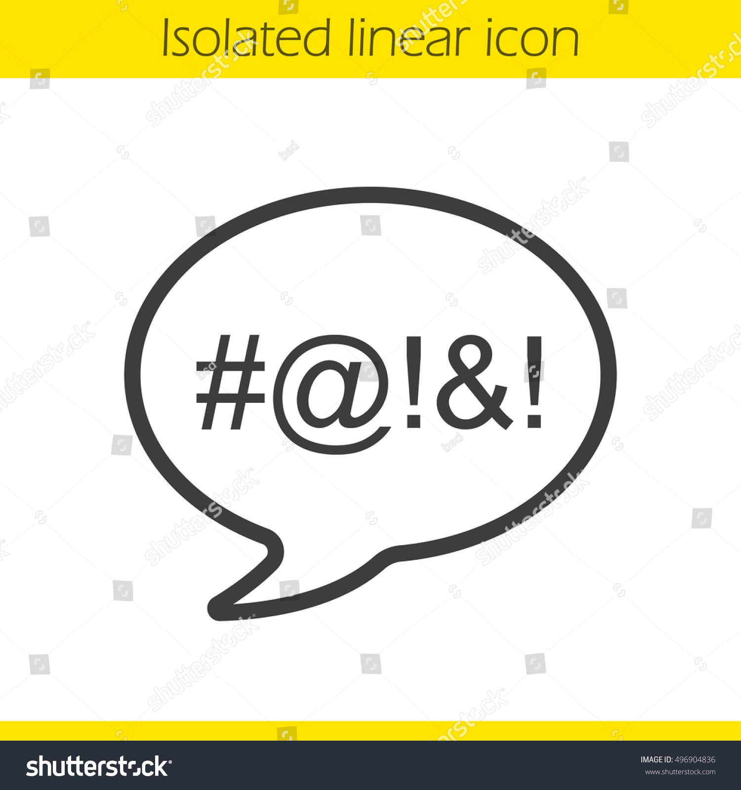 Dirty Language Linear Icon Cursing Thin Stock Vector Royalty Free