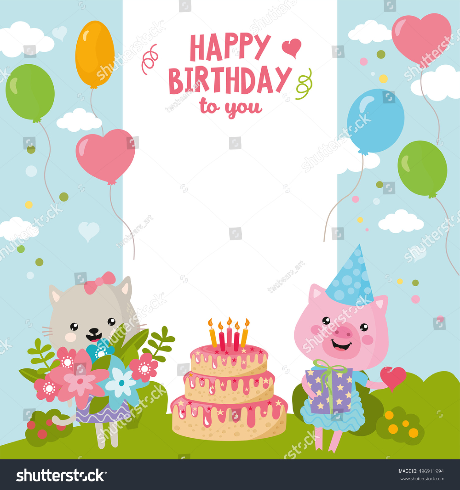 Greeting Card Design Cute Cat Pig Stock Vector (Royalty Free ...