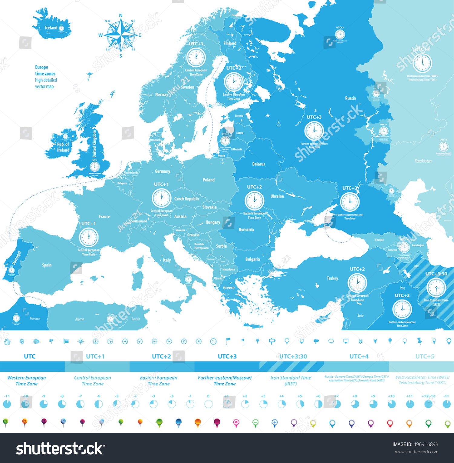 Europe Time Zones High Detailed Map Stock Vector HD Royalty Free