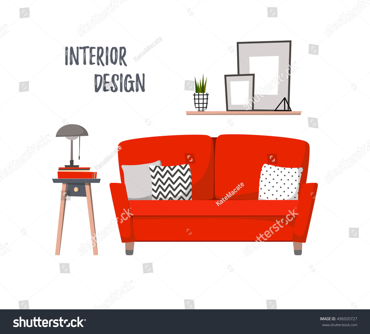 Cozy Living Room Vector Illustration: Flat Vector Illustration Home Interior Cozy Stock Vector