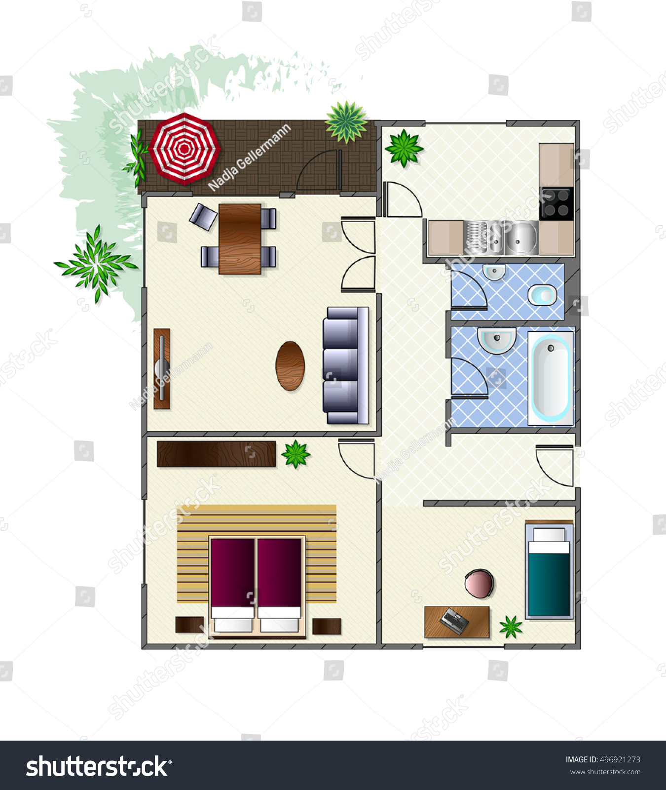 Architecture Plan With Furniture In Top View Of 3 Rooms Apartment With  Terrace. Modern