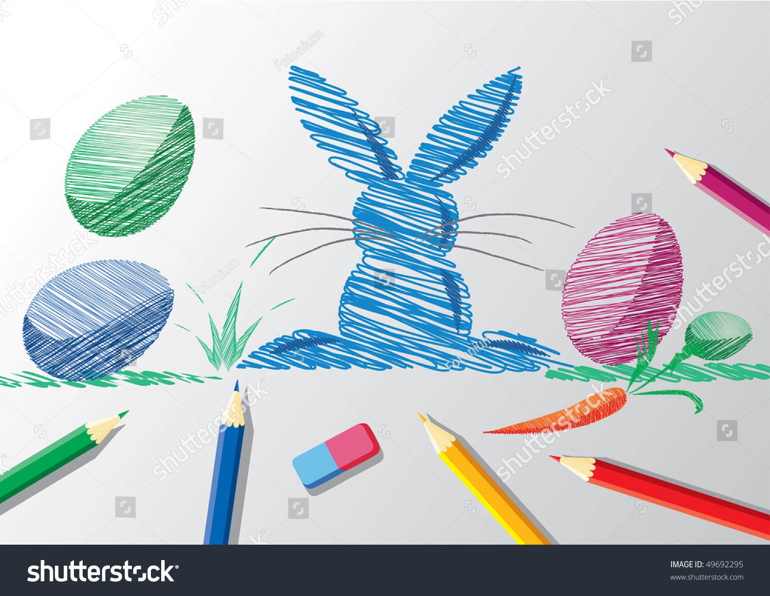 Notebook And Pen Sketch Stock Vector Art More Images Of: Pencil Sketch Easter Bunny Eggs Stock Vector 49692295