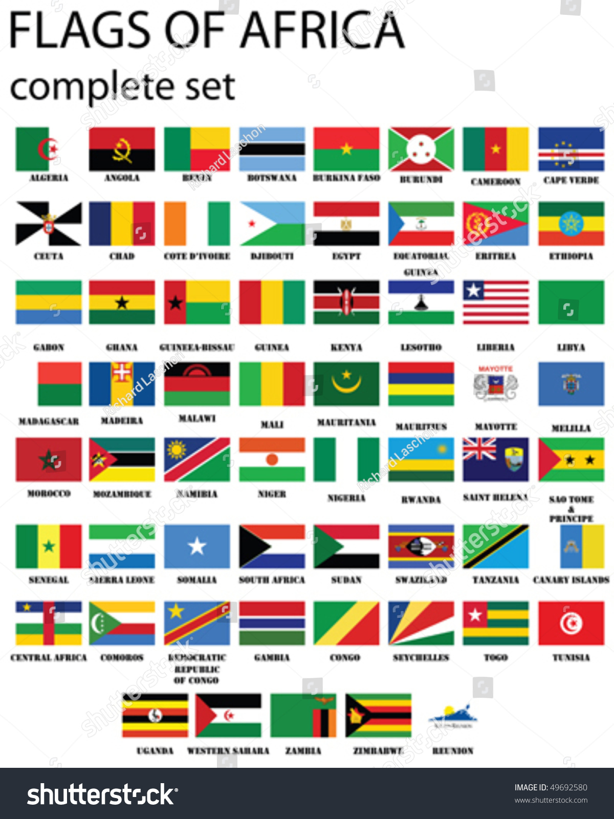 Flags Of Africa  Complete Set Of Flags In Original Colors Over White  Background