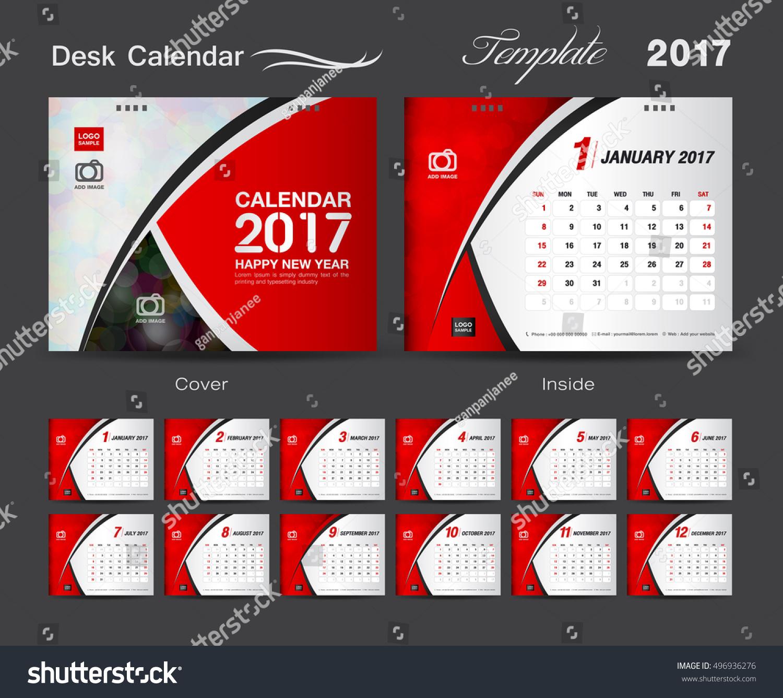 Desk Calendar 2017 Template Design Set Vector 496936276 – Calendar Flyer Template