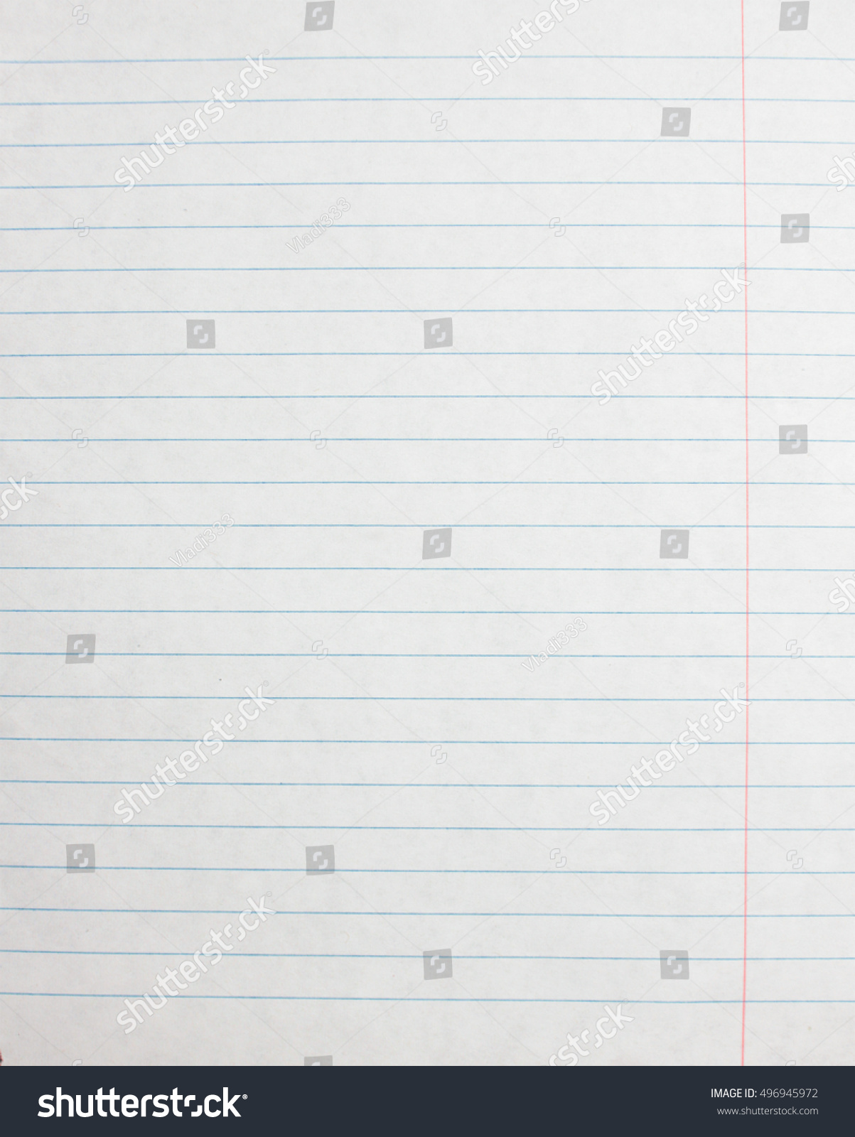Lined Paper Sheet. Blank Template Of Notebook Page. Linear Background.  Blank Lined Page