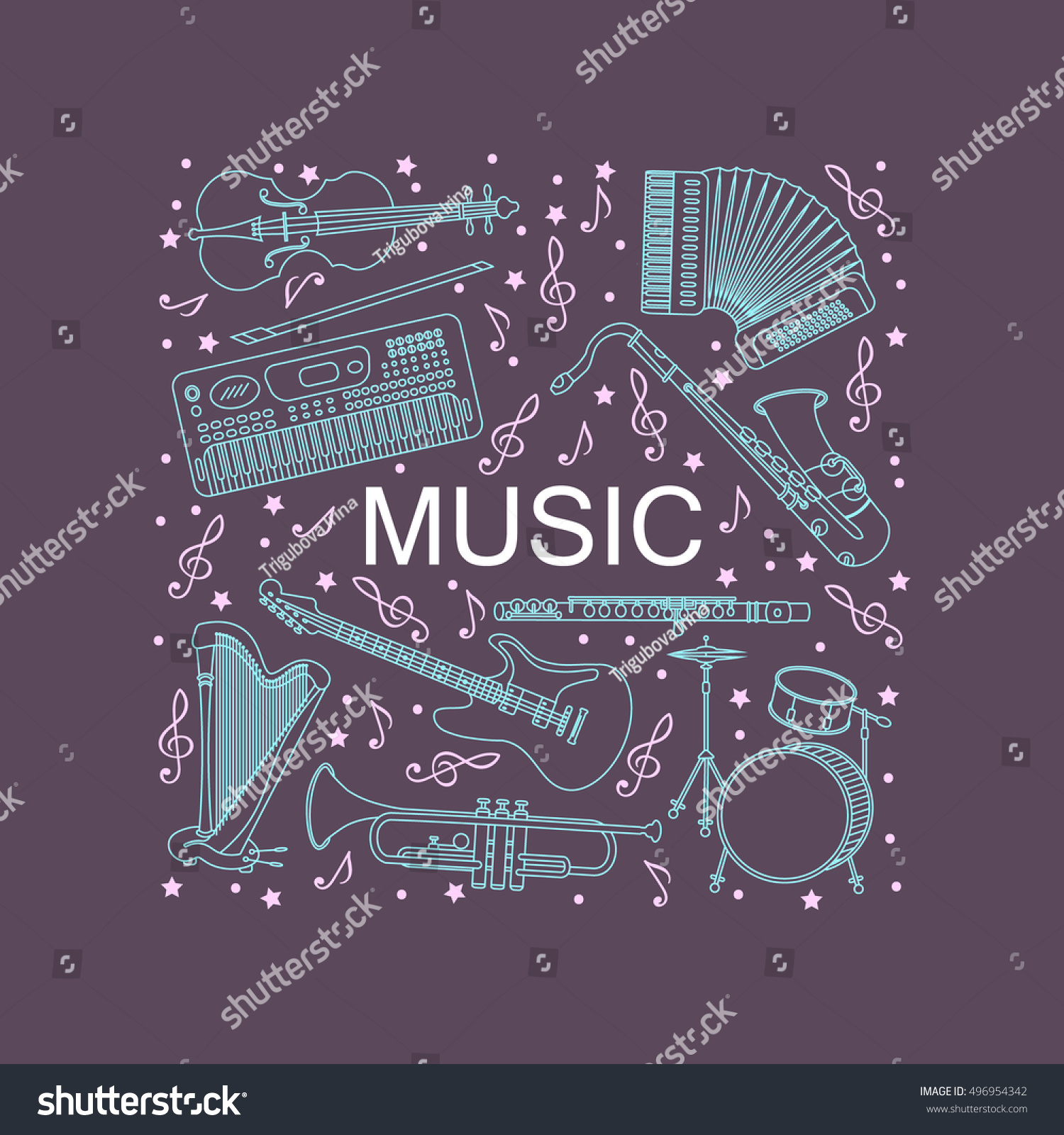 Unique Illustration Different Music Instruments Synthesizer Stock