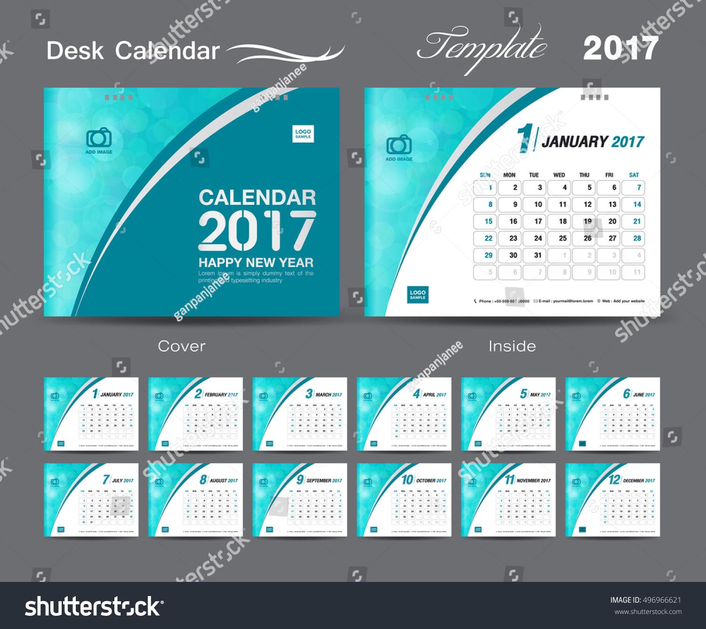 Corporate Calendar 2017 : Desk calendar template design set stock vector