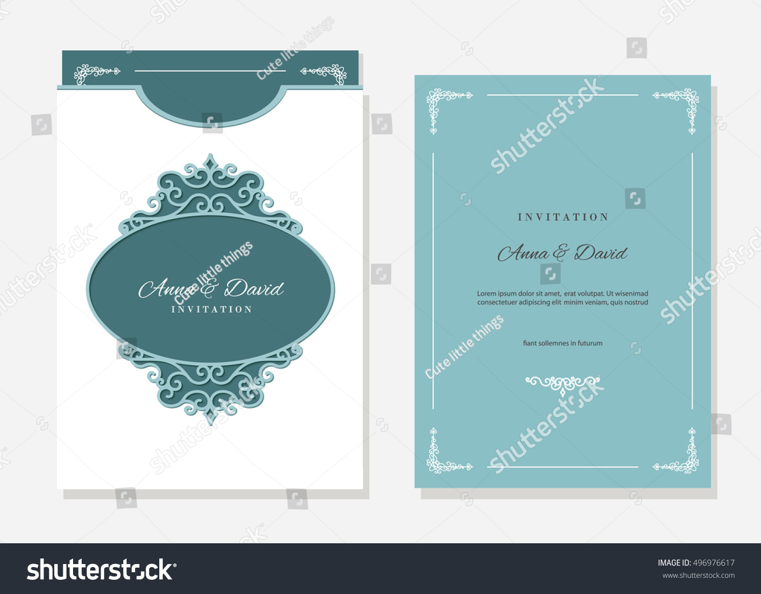 Wedding Invitation Envelope Template Laser Cutting Stock Vector ...