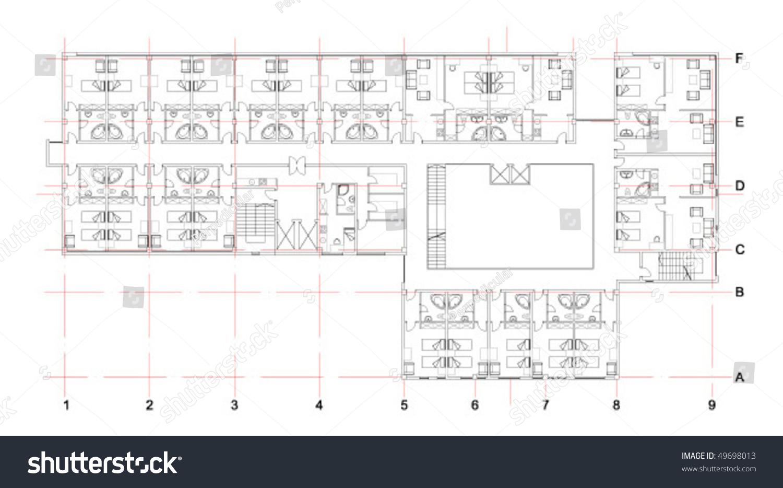 Hotel Floor Plan Stock Vector Illustration 49698013