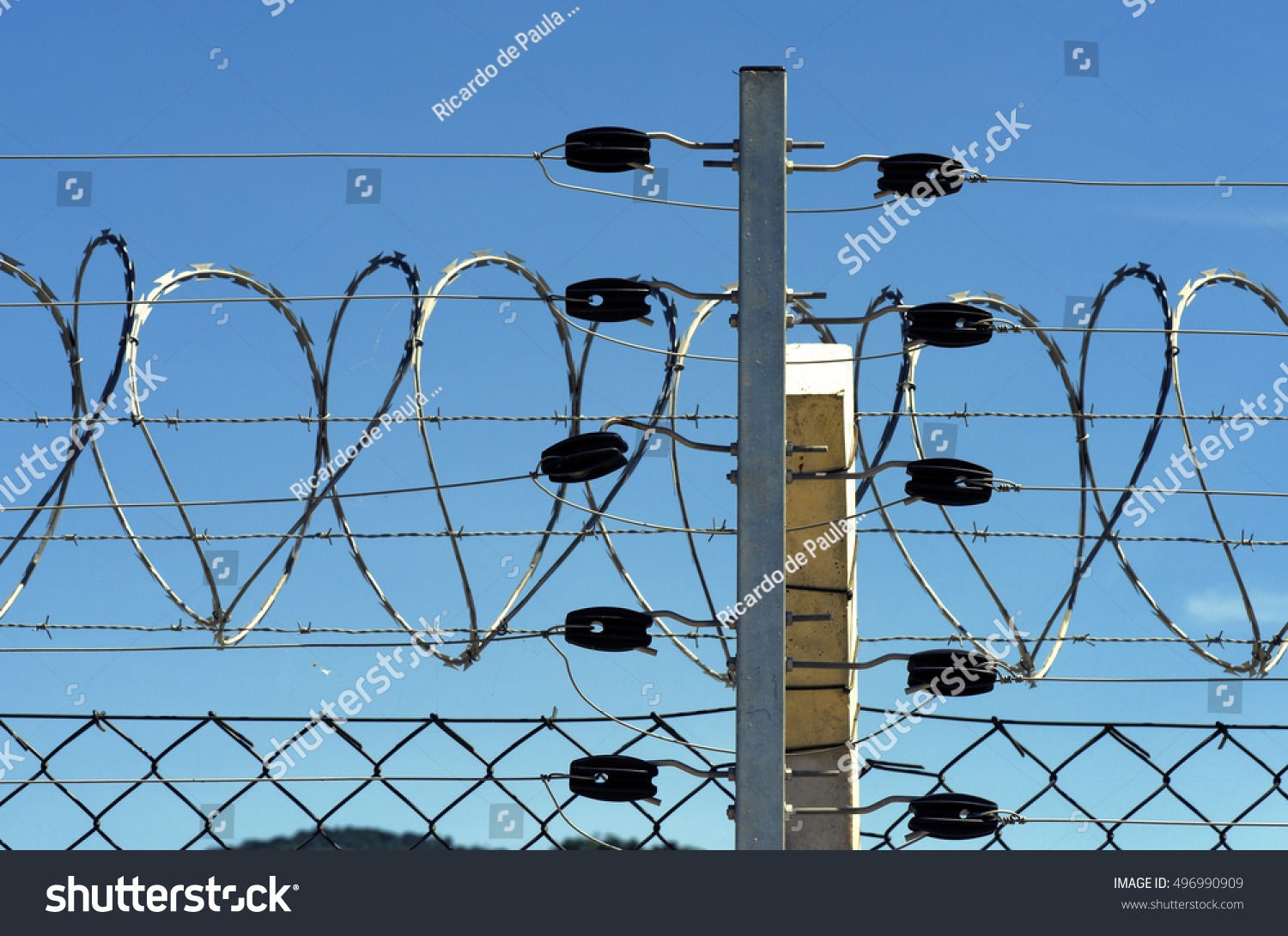 Detail Electric Fence Concertina Wire Seropedica Stock Photo Edit Wires Of With Rj Brazil January 7