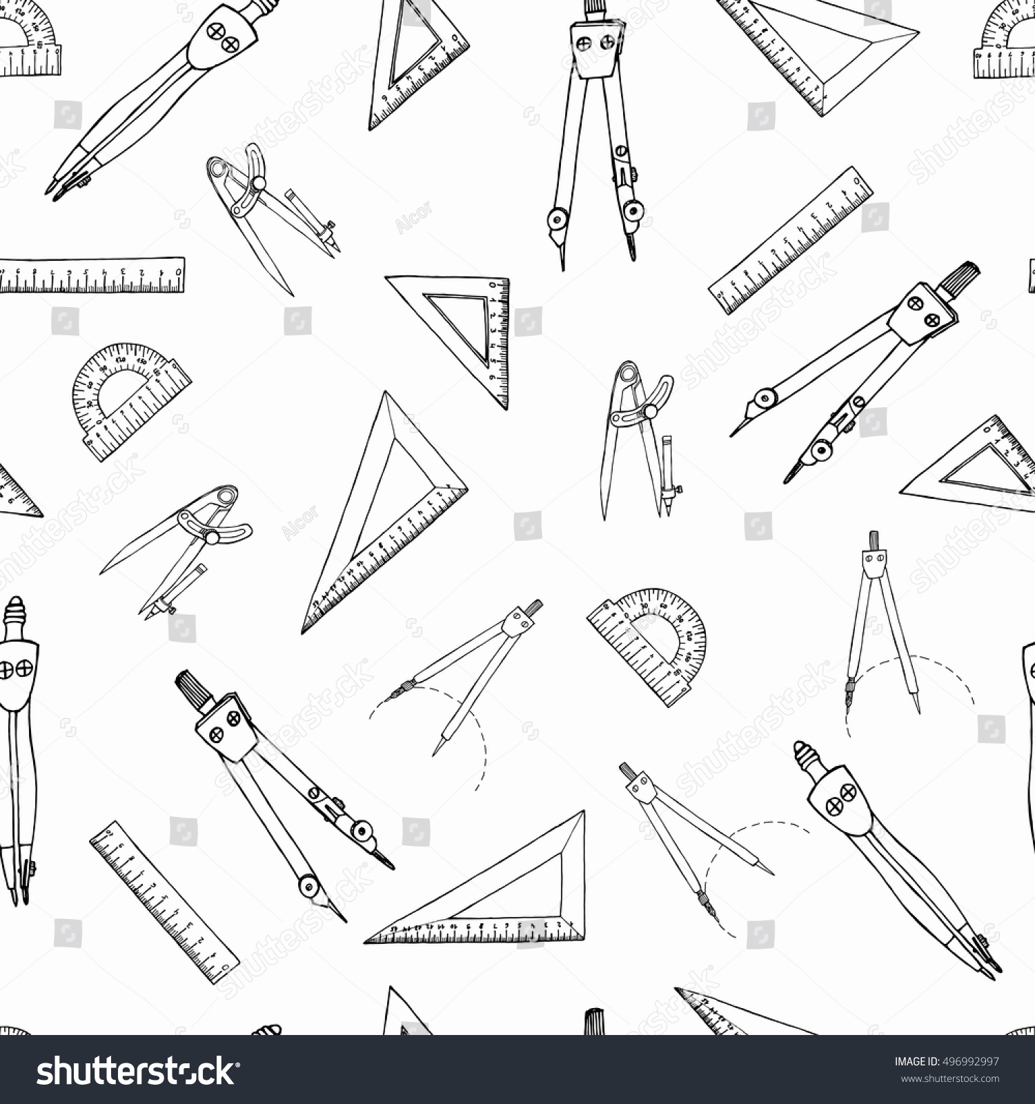 worksheet Protractor Print ruler triangle compasses protractor hand drawn stock vector and pattern with freehand sketch icons for