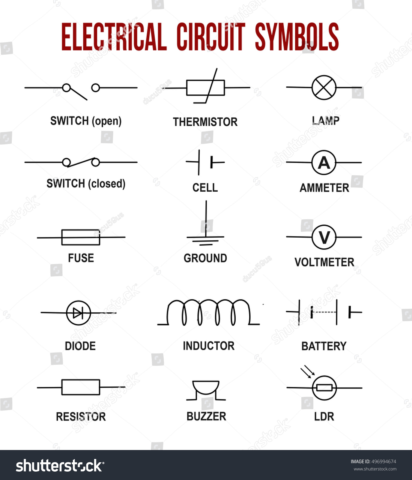 Electrical Circuit Symbols On White Background Stock Vector ...